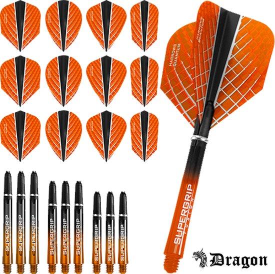 Dragon Darts – Harrows - Combi kit – Quantum-X – 3 sets darts shafts – 4 sets darts flights - Oranje