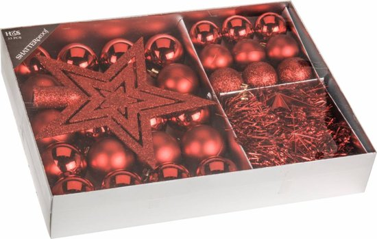 Home & Styling Kerstballen Set Rood 33-dlgHome & Styling