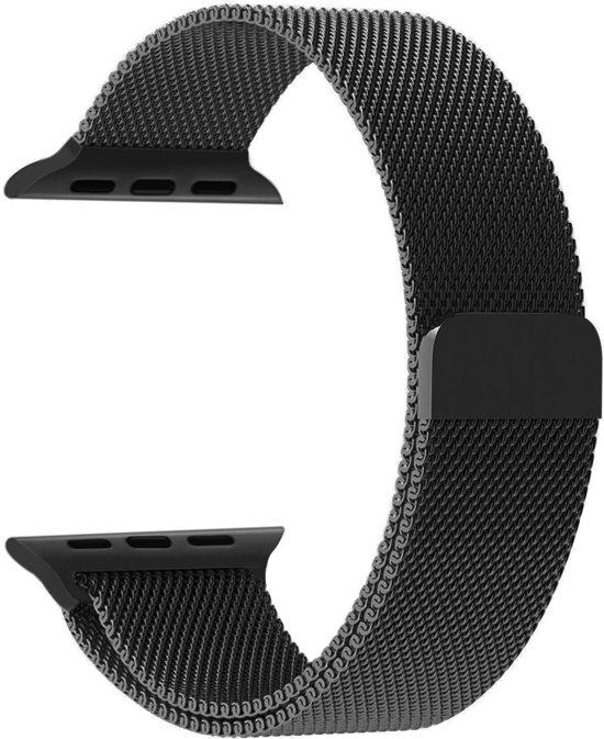 Apple Watch Bandje Milanees 42mm Zwart - Milanese Loop Band 42mm Roestvrijstaal Black
