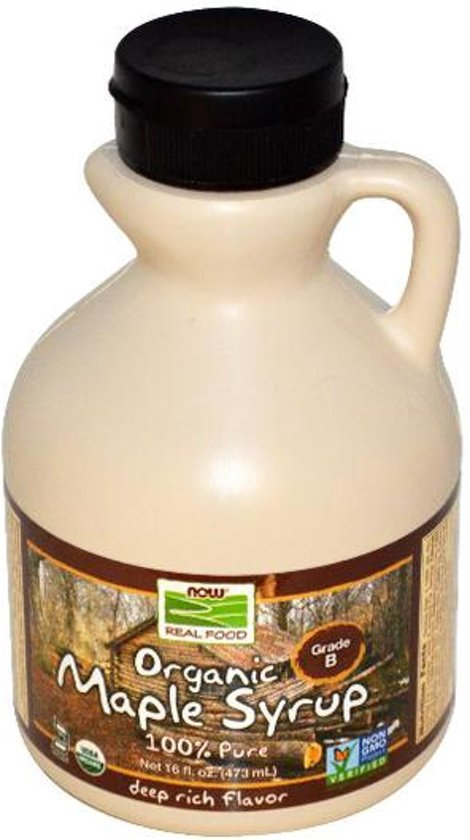 Biologische ahorn siroop, klasse A, Dark (vroeger klasse B), diepe rijke smaak (473 ml) - Now Foods