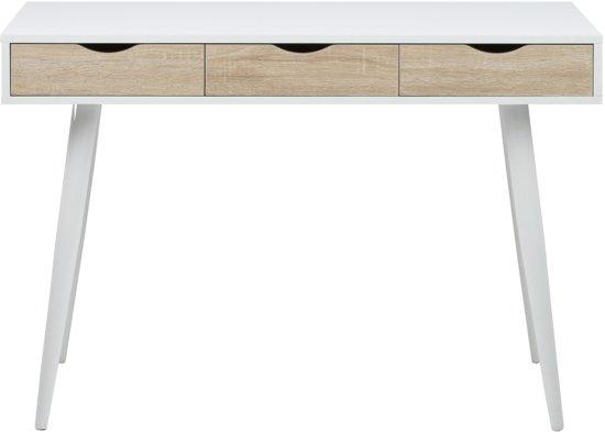Wit Bureau Houten Poten.24designs Bureau Saga L110 X B50 X H77 Cm 3 Laden Eiken Decor Witte Poten