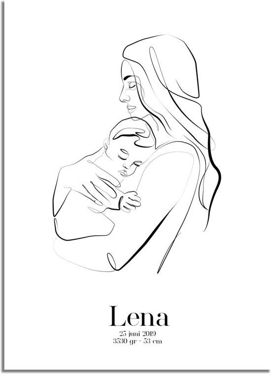 DesignClaud Geboorteposter Moeder en kind Kraamcadeau A3 poster zonder fotolijst