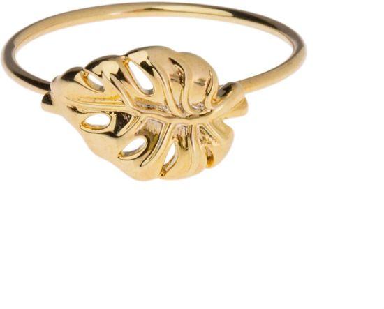 Orelia ring met palmblad - Gold Plated - 1,8 cm