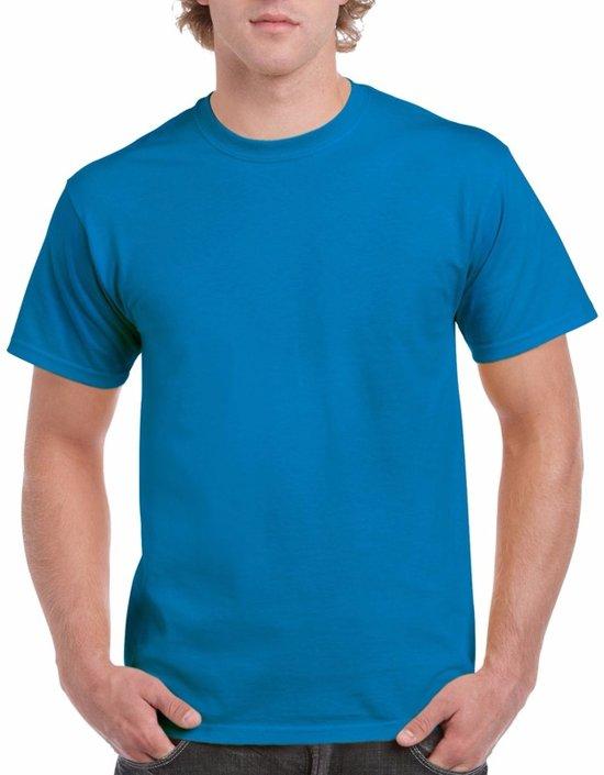 Saffierblauw of turquoise katoenen shirt voor volwassenen - voordelige kwaliteits t-shirts L (40/52)