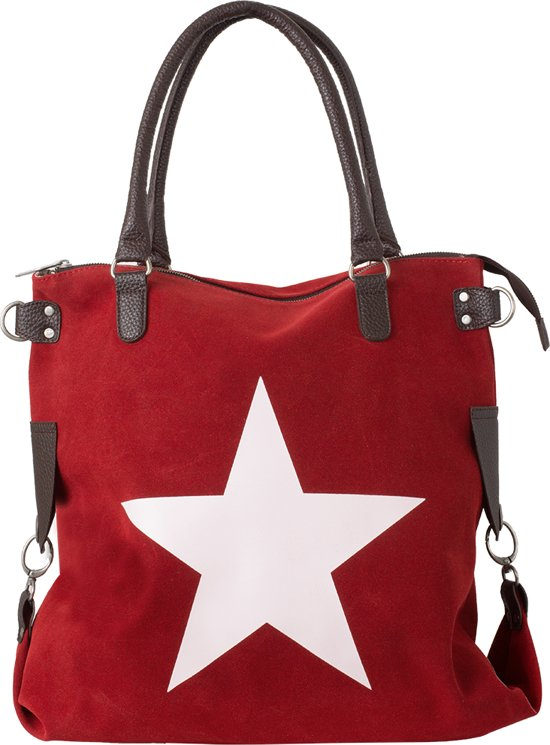 Canvas Schoudertas Met Ster : Bol galata suede star rood witte ster echt lederen
