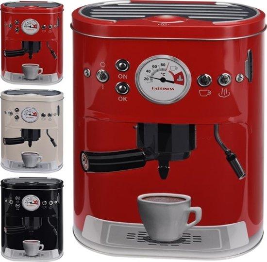 Metalen Vintage Koffieblik - voor koffie of koffiepads - Zwart -Rood - Wit Valentinaa