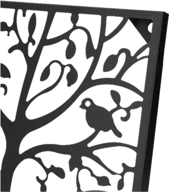 Muurdecoratie Buiten Metaal.Top Honderd Metalen Zwart Wandpaneel Met Vogels Voor Binnen En