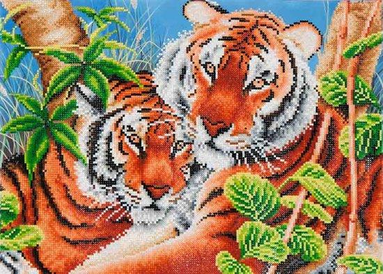 Diamond Dotz ® painting Tender Tigers (52x37 cm) - Diamond Painting