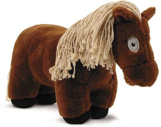 Paarden knuffel 48 cm groot Bruin dieren knuffel + educatief instructie pony boekje A4 formaat speelgoed paard