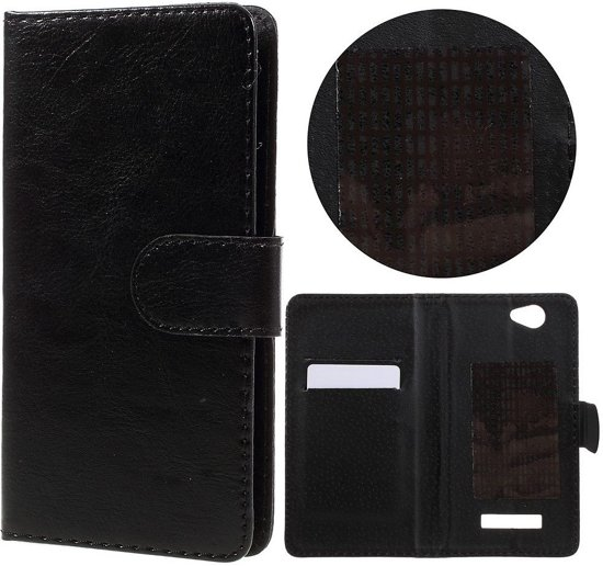 Knaldeals.com - Wileyfox Spark / Spark + cover - Book Wallet Case - zwart in Beemte
