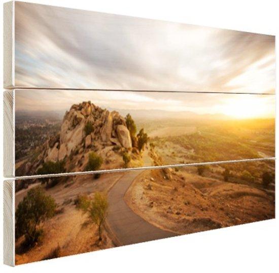 Woestijnslandschap Hout 30x20 cm - klein - Foto print op Hout (Wanddecoratie)