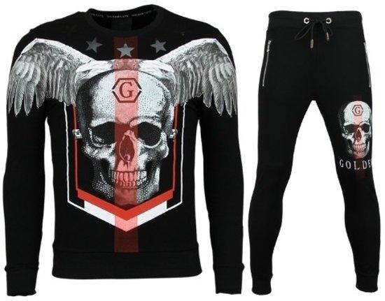 2666263aae4c68 Golden Gate Trainingspakken Heren - Skinny Joggingpak - Ster Skull - Zwart  - Maat  XS