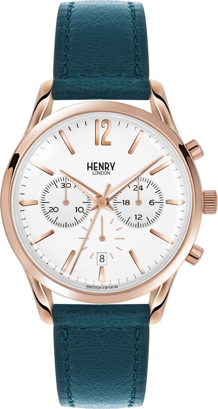 Henry London HL39-CS-0144 - Horloge - Leer - Blauw - Ø 39 mm