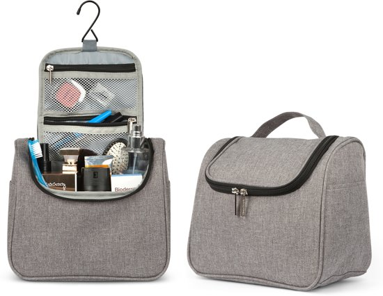 TravelMore Ophangbare Toilettas met Haak – Make Up Bag – Hang Travel Organizer en Etui - Reis Toiletzak - Dames en Mannen - Toiletartikelen – Sport – Kamperen - Grijs