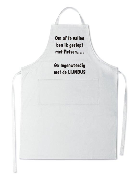 Mijncadeautje Schort - Lijnbus - opdruk wit - mooie en exclusieve keukenschort - wit