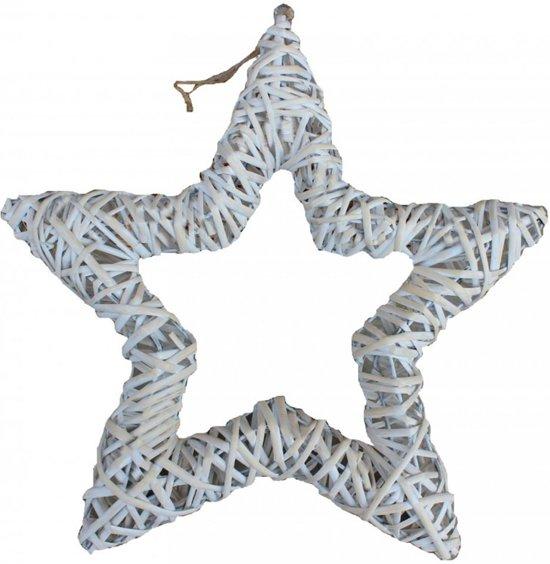 Witte-was Rieten Open Ster Kerst Decor