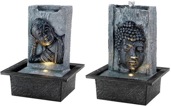 Boeddhabeeld Met Fontein.Boeddha Fontein Met Led Verlichting 21x18x27cm
