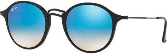 Ray-Ban RB2447 901/4O - zonnebril - Round Fleck - Zwart - Blauw Gradiënt Flash - 52mm