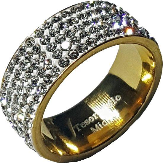 Stalen ring voor dames - zirkonia stenen - goudkleurig -  Tesoro Mio Michel - maat 54 (17,2 mm)
