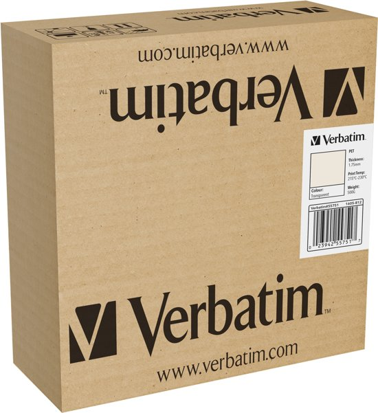 Verbatim 55751 3D Printer Filament PET 1.75mm 500g Transparant