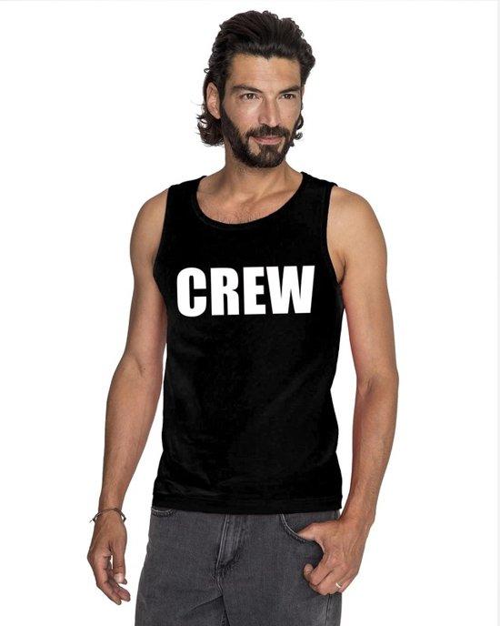 Crew tekst singlet shirt/ tanktop zwart heren S