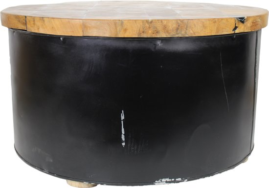 HSM Collection - Salontafel Drum - black resin - teak/ijzer