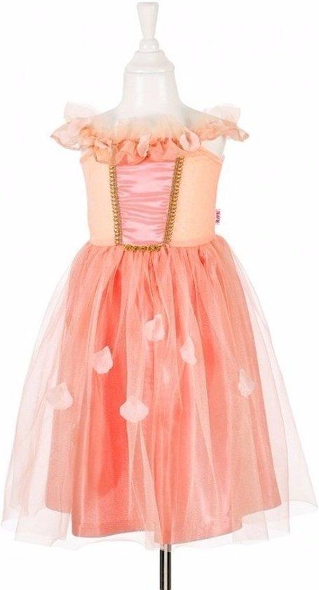 Zalmroze prinsessen jurkje met kant voor meisjes 8-10 jaar (128-140)