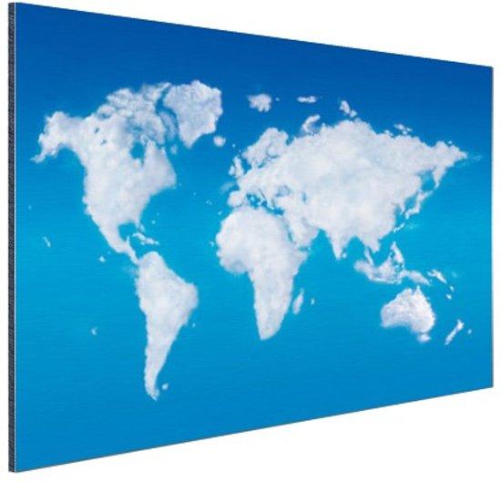 Wereldkaart wolken Aluminium 120x80