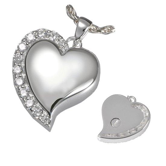 Stalen zilverkleurige ashanger hart zirkonia