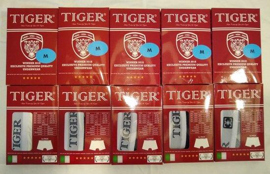 3x LUXE BOXERSHORTS TIGER - 3x LICHT GRIJS MELANGE MAAT  XL - 95% KATOEN 5% ELASTANE