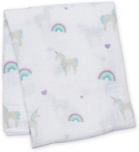 Lulujo swaddle 120x120 - Unicorns