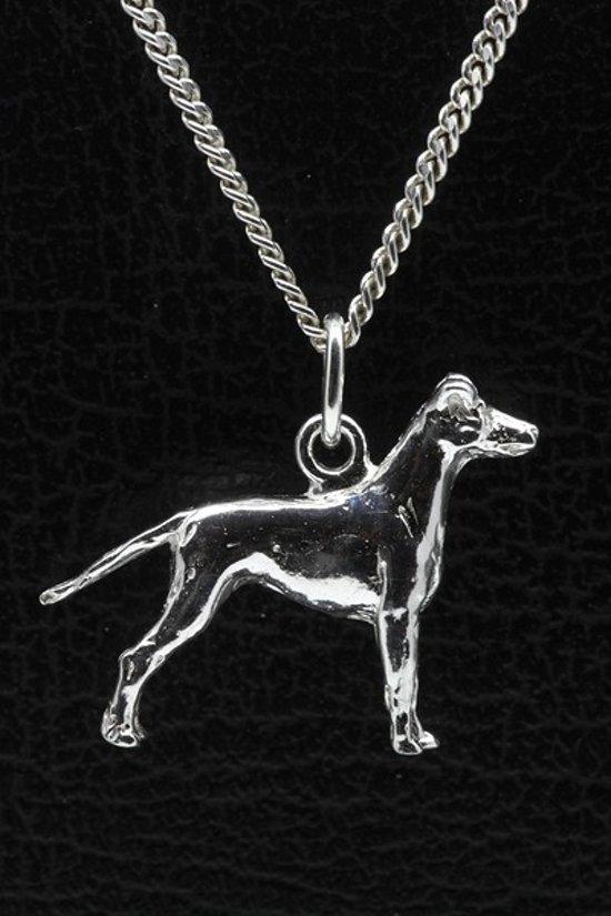 Zilveren Black and tan terrier ketting hanger - groot
