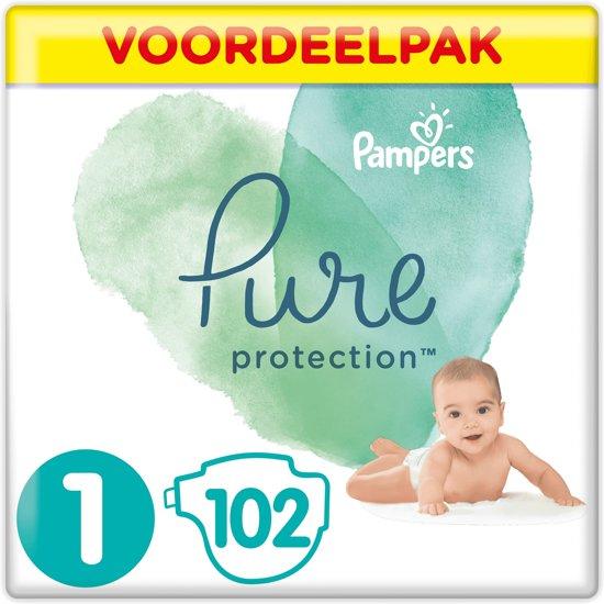 Pampers Pure Protection Luiers - Maat 1 (New Born) 2-5kg - 102 Stuks - Voordeelpak