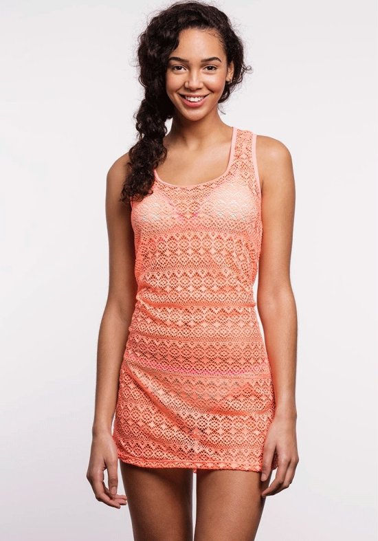 Shiwi dress crochet forever - bright coral - XS