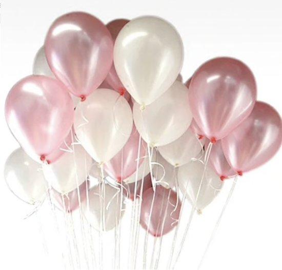Luxe Ballonnenset Roze Wit 25 Stuks Helium Ballonnen Feest Ballonnen Feestje Verjaardag Babyshower Party Wedding Bruiloft Valentijn