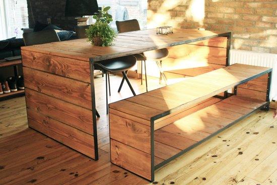 Moderne Eettafel Hout.Bol Com Industriele Design Eettafel Chicago Hout En Metaal Uniek