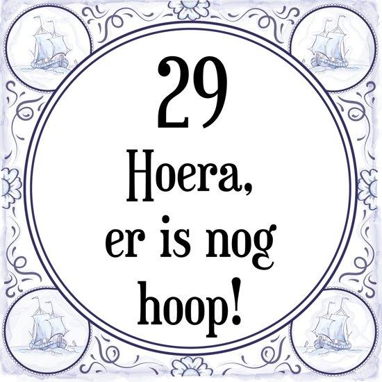 29 jaar verjaardag bol.| Verjaardag Tegeltje met Spreuk (29 jaar: Hoera! Er is  29 jaar verjaardag
