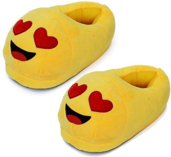 Emoticon sloffen hartjesogen voor dames 39/40 - smiley pantoffels