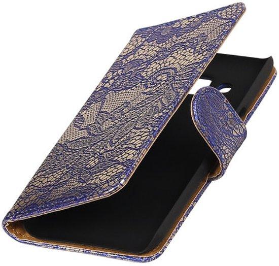 Blauw Lace booktype wallet cover hoesje voor Huawei P9 Plus
