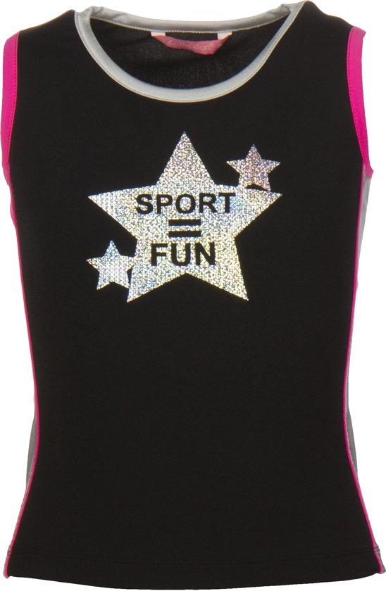 Papillon Tanktop Sport = Fun Meisjes Zwart Mt 128