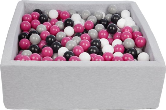 Ballenbak - stevige ballenbad - 90x90 cm - 450 ballen Ø 7 cm - wit, roze, grijs, zwart.