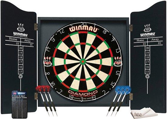 Winmau - Dartkabinet - Zwart - 2 sets dartpijlen en dartbord - kabinet