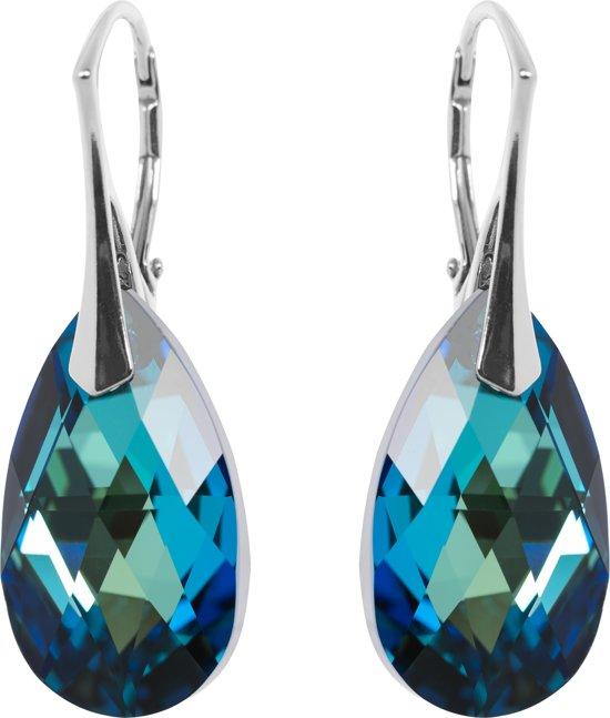 Zilveren Oorbellen met Swarovski Elements Bermuda Blue 22MM