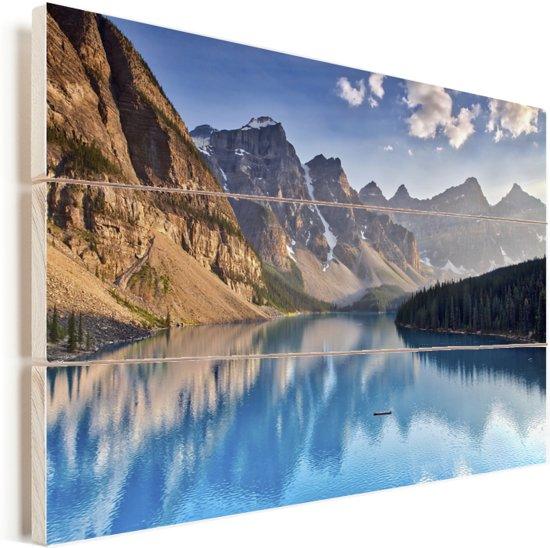 Moraine Lake bij de provincie Alberta in Canada Vurenhout met planken 120x80 cm - Foto print op Hout (Wanddecoratie)
