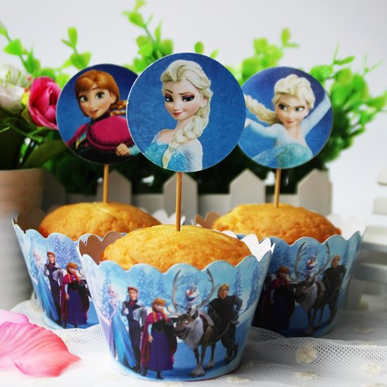 Frozen cup cake set 24 houders 24 decoratie for Decoratie cupcakes