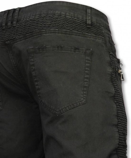 Heren With Jeans Enos Fit Zippers 34 Slim Korte Broek Maten Biker Damaged Zwart AwA8qE0