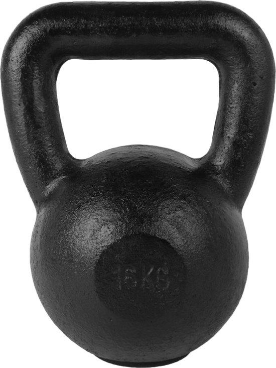 Tunturi Kettlebell - 16 kg met rubberen onderkant - Zwart