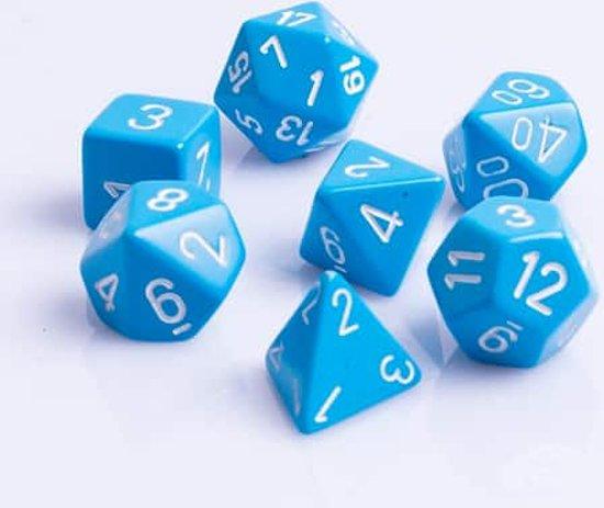 Afbeelding van het spel Polydice 7 Dobbelstenenset Licht Blauw met Wit