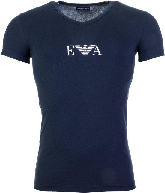 Emporio Armani V-neck Sportshirt - Maat XL  - Mannen - blauw/wit