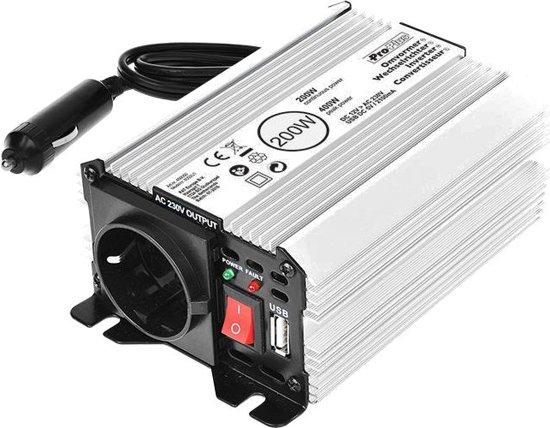 Omvormer 12V-230V 200W/400W + USB